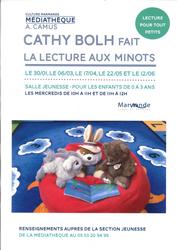 La lecture aux minots avec Cathy Bolh à la Médiathèque